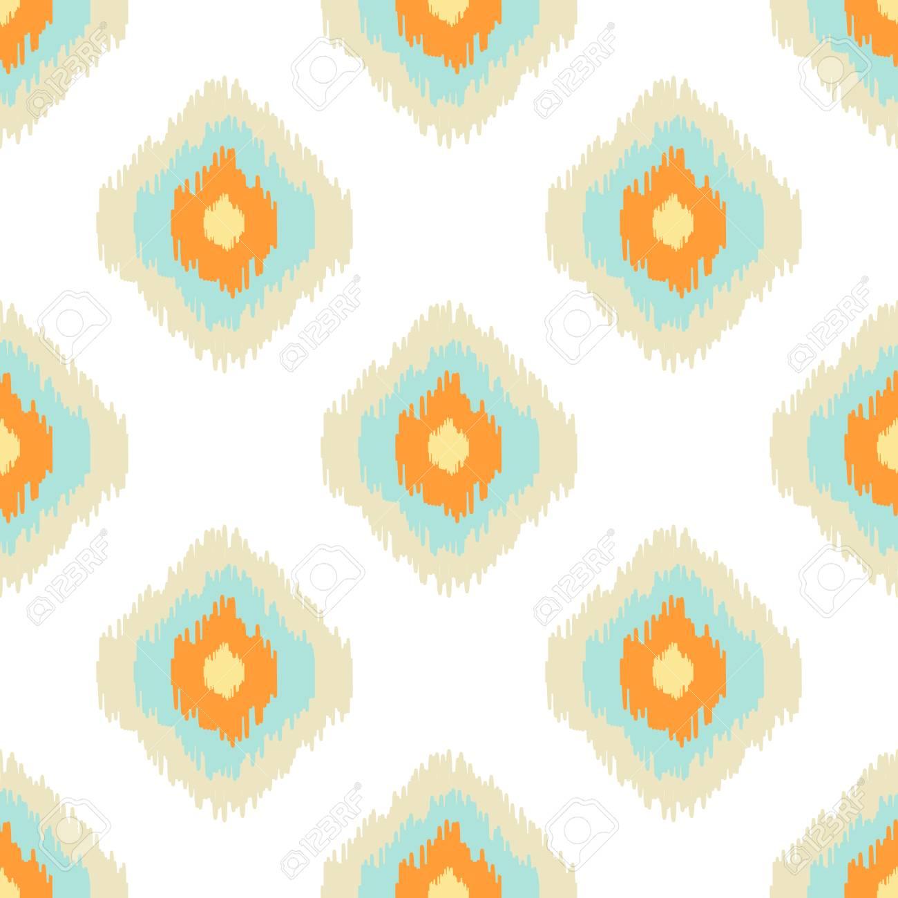 Patrón Transparente Geométrica Ikat. Colección De Colores Naranja Y ...