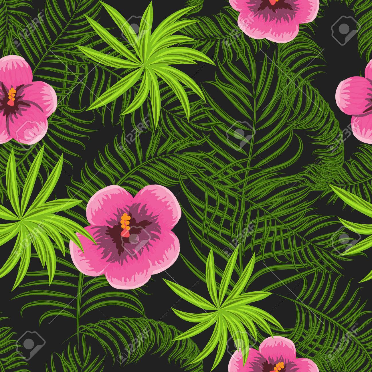 Tropical Jungle Palm Leaves And Hibiscus Vector Pattern Background Exotic Nature For Fabric