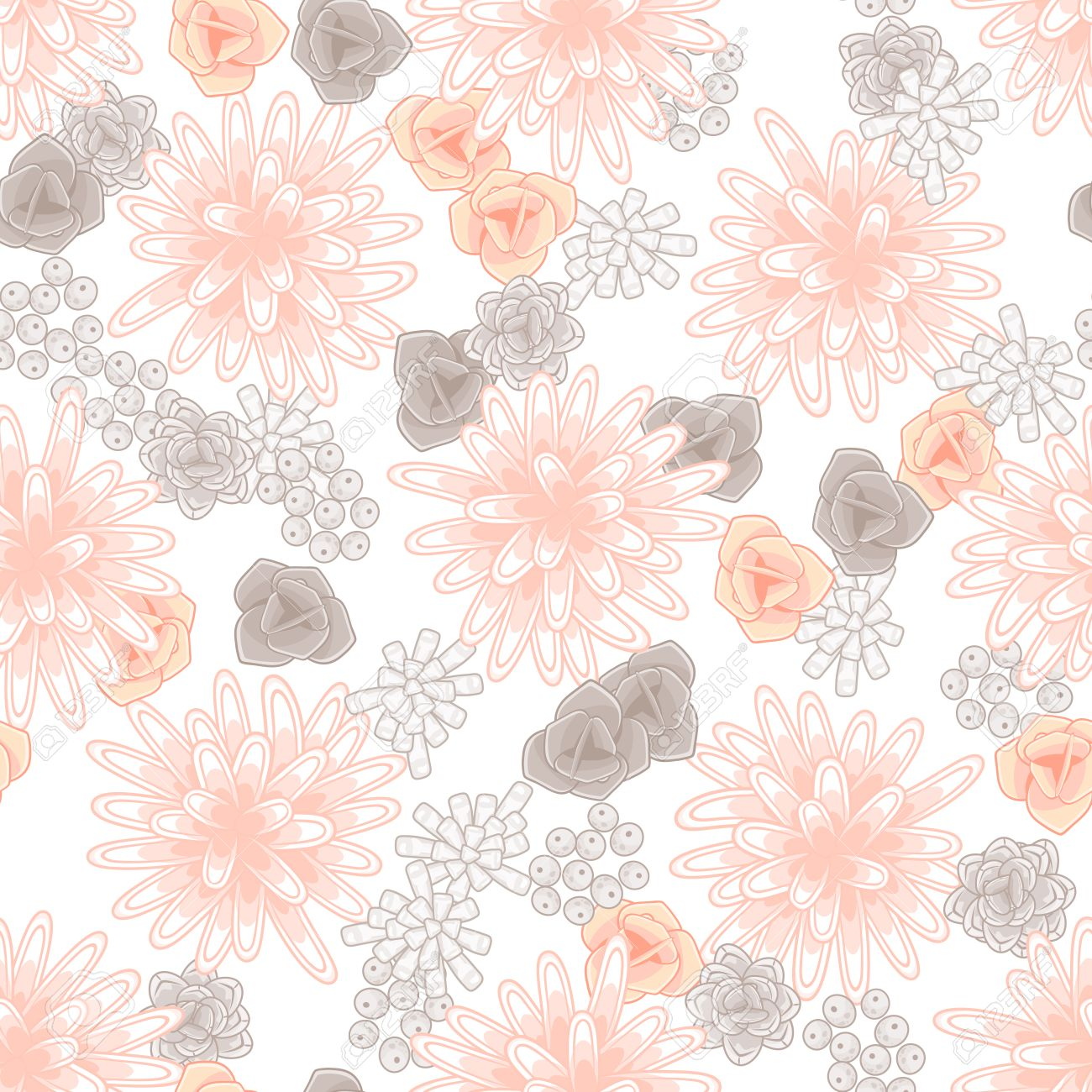 Pink floral seamless vector background floral hrysanthemum seamless - Mums Flowers And Roses Seamless Pink Pattern Feminine Light Chrysanthemum Floral Background Stock Vector