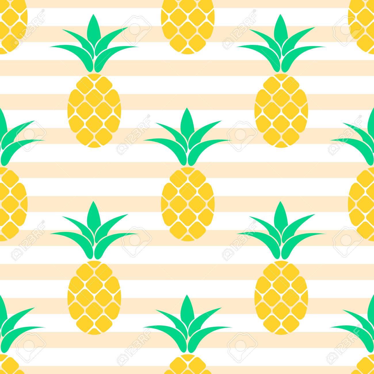Vettoriale Estate Pastello Ananas Disegno Senza Soluzione Di