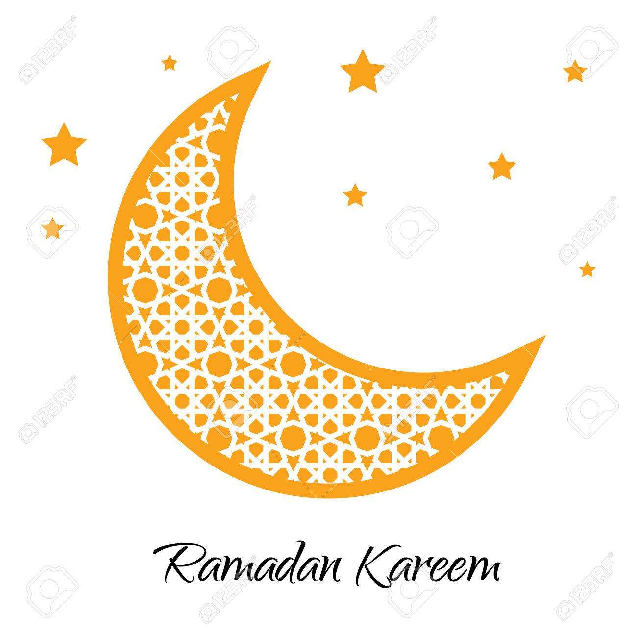 Ramadan Kareem Moon With Muslim Ornament Greeting Card Vector Ramazan