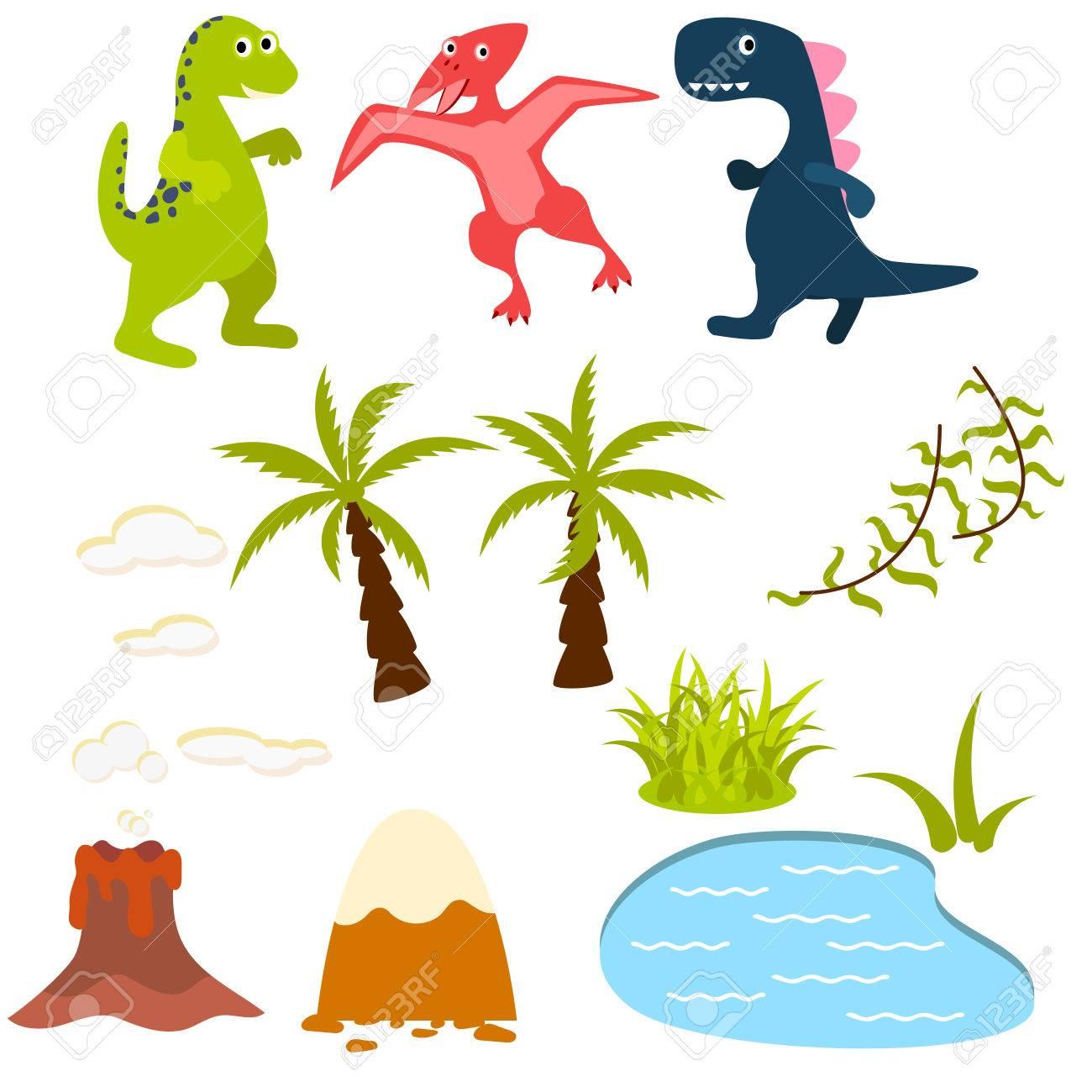 set of cartoon dinosaur clipart illustration dino in rainforest rh 123rf com Realistic Dinosaur Clip Art Dinosaur Coloring Pages