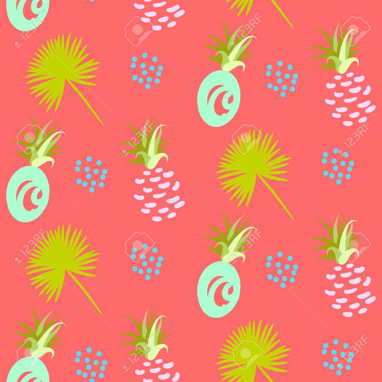 Ananas Abstrakten Exotischen Korallen Nahtlose Hintergrund