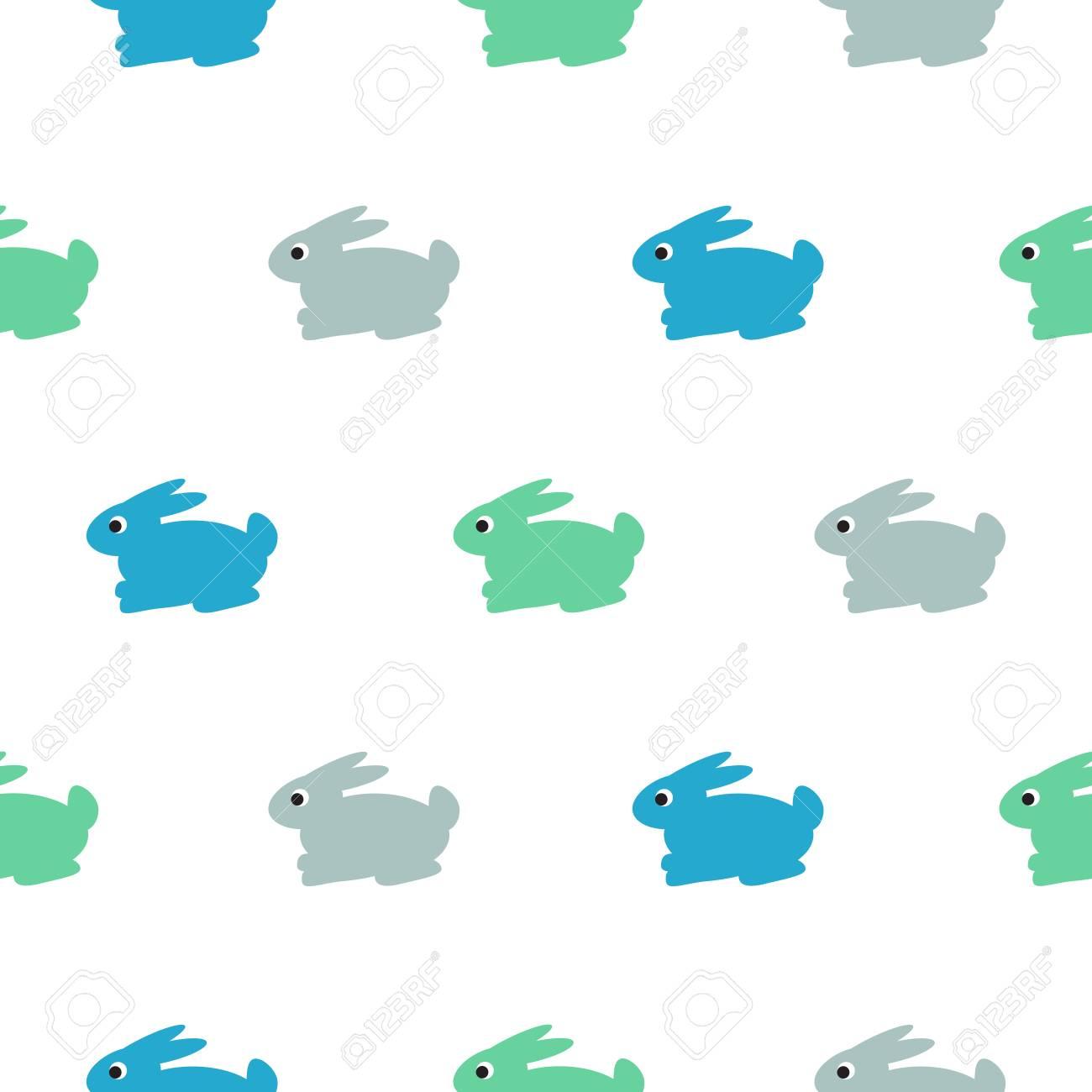 Conejo Azul, Verde En El Patrón De Chico Blanco. Modelo Inconsútil ...