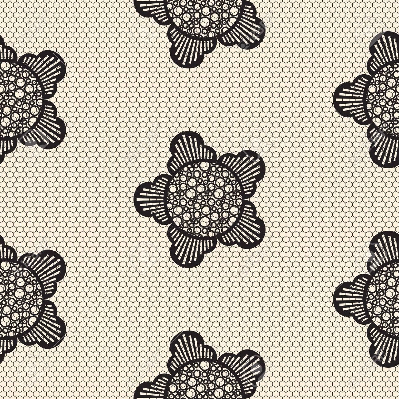 De Encaje De Flores Sin Patrón De Juego. Celular Negro Calado Textil ...
