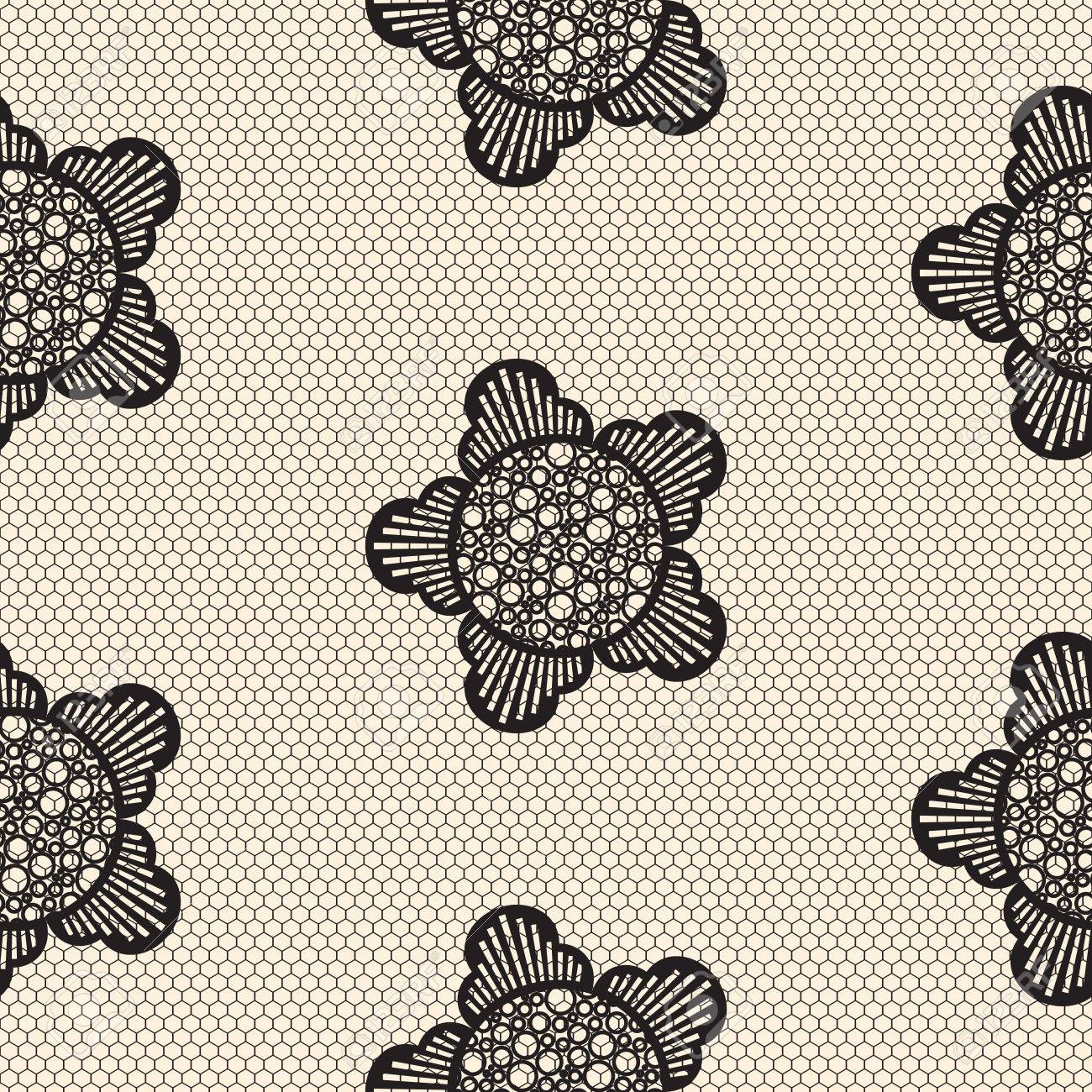 Flower Lace Seamless Pattern Net. Black Cell Textile Openwork ...