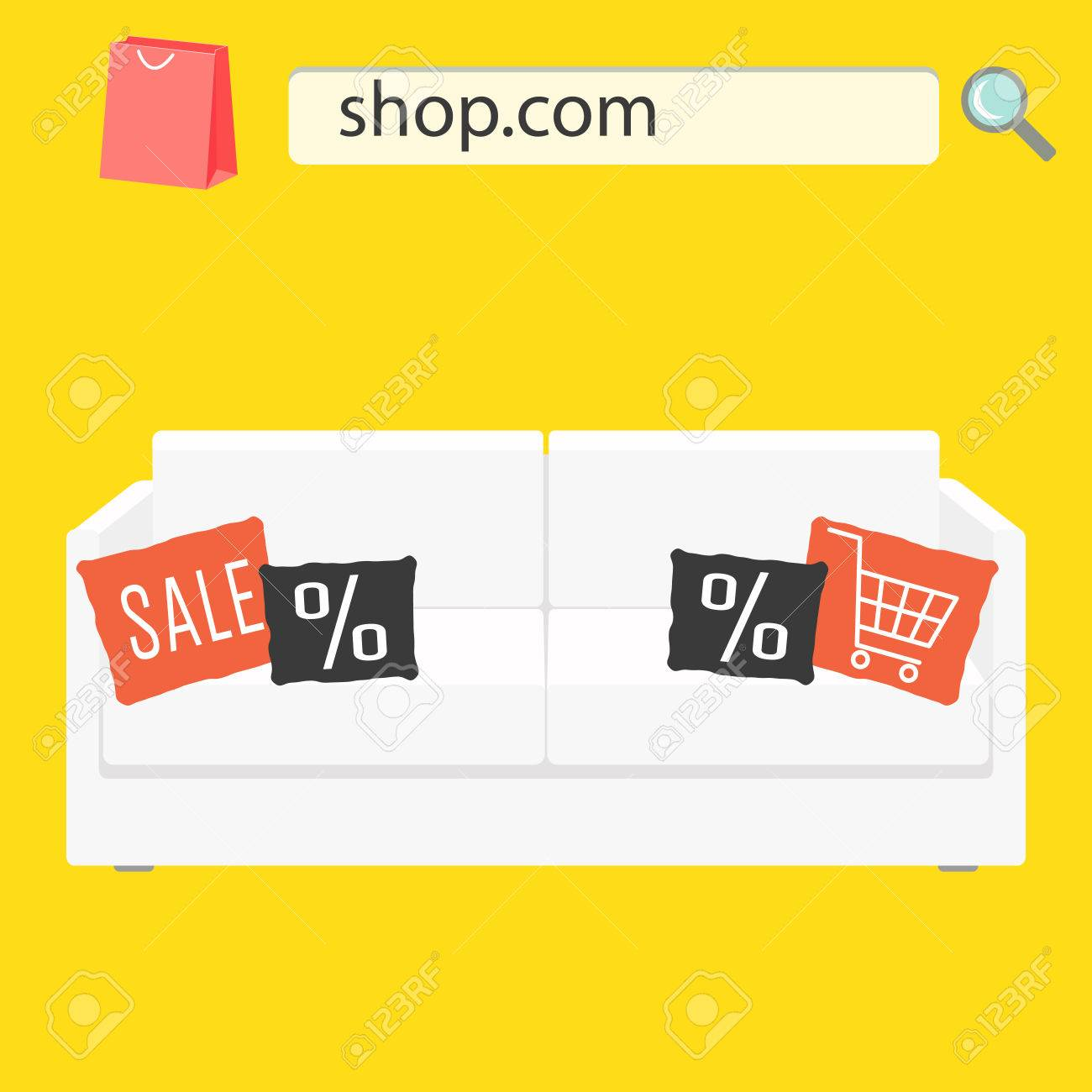 Online shop sale banner with white sofa and pillows  Furniture shop advert  flyer  Stock. Online Shop Sale Banner With White Sofa And Pillows  Furniture