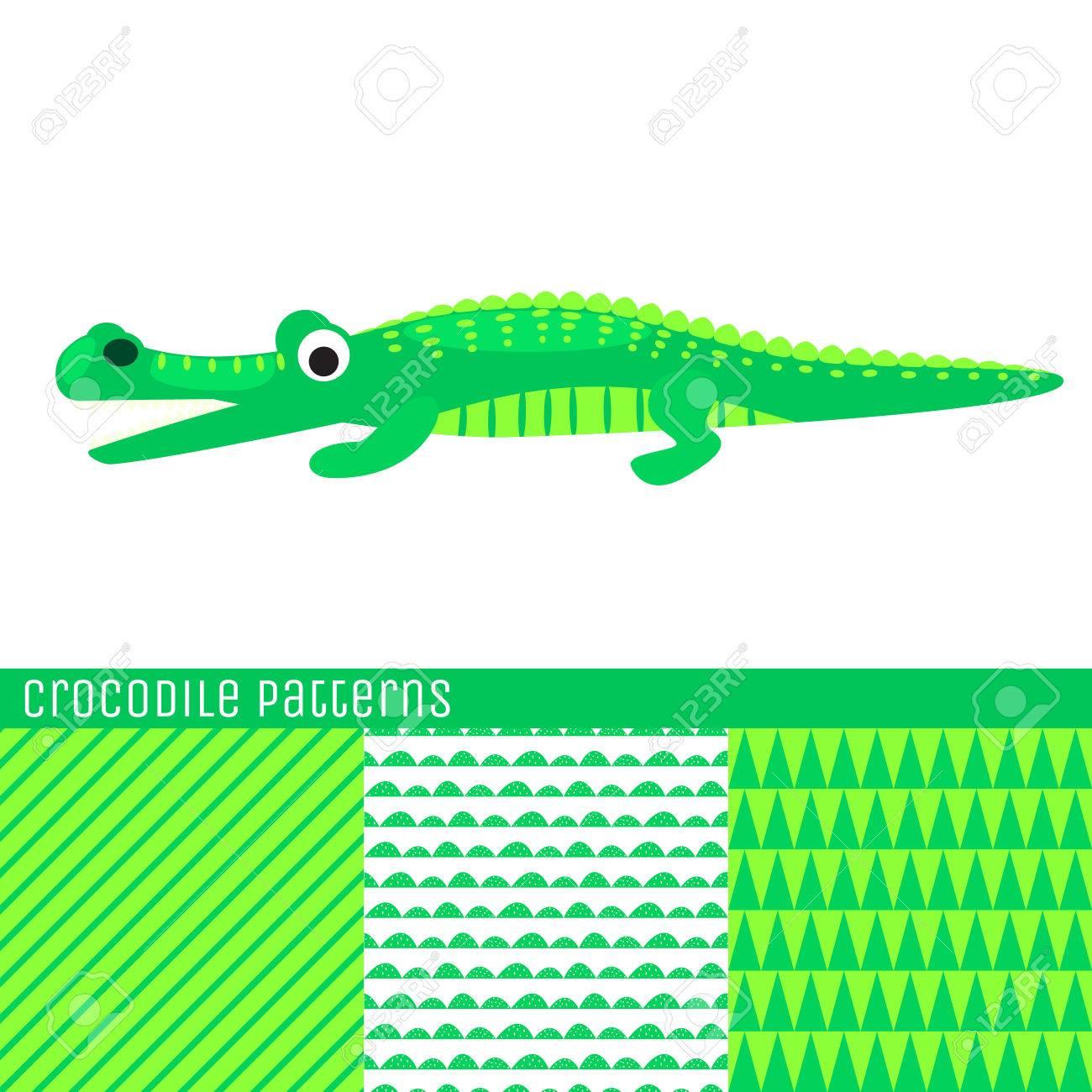 Cartoon Crocodile Vector Illustration Green Kid Alligator