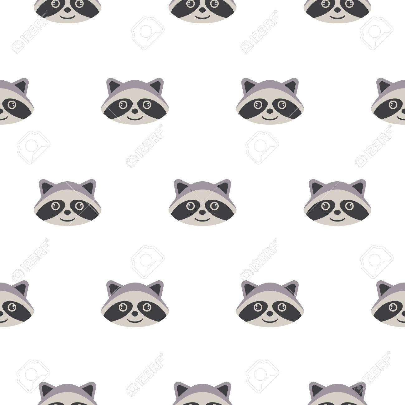 Historieta principal del mapache patrón de vector transparente. El diseño  simple de los animales para la industria textil gris niño y envoltura de ...