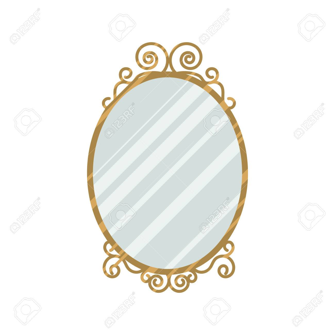 Vector   Vintage Style Feminine Design Mirror Vector Illustration. Home  Interior Oval Mirror With Curl Frame Gold Details.