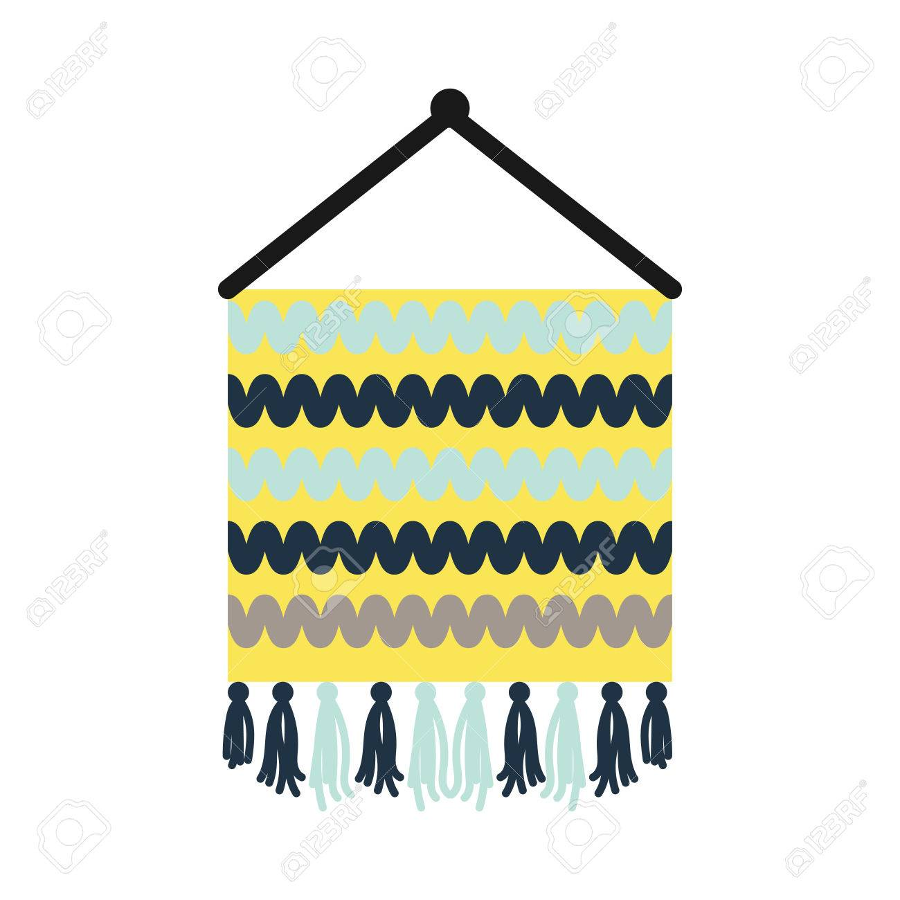 Wall Knitted Decor Element Vector Icon. Thread Yarn Hanging ...