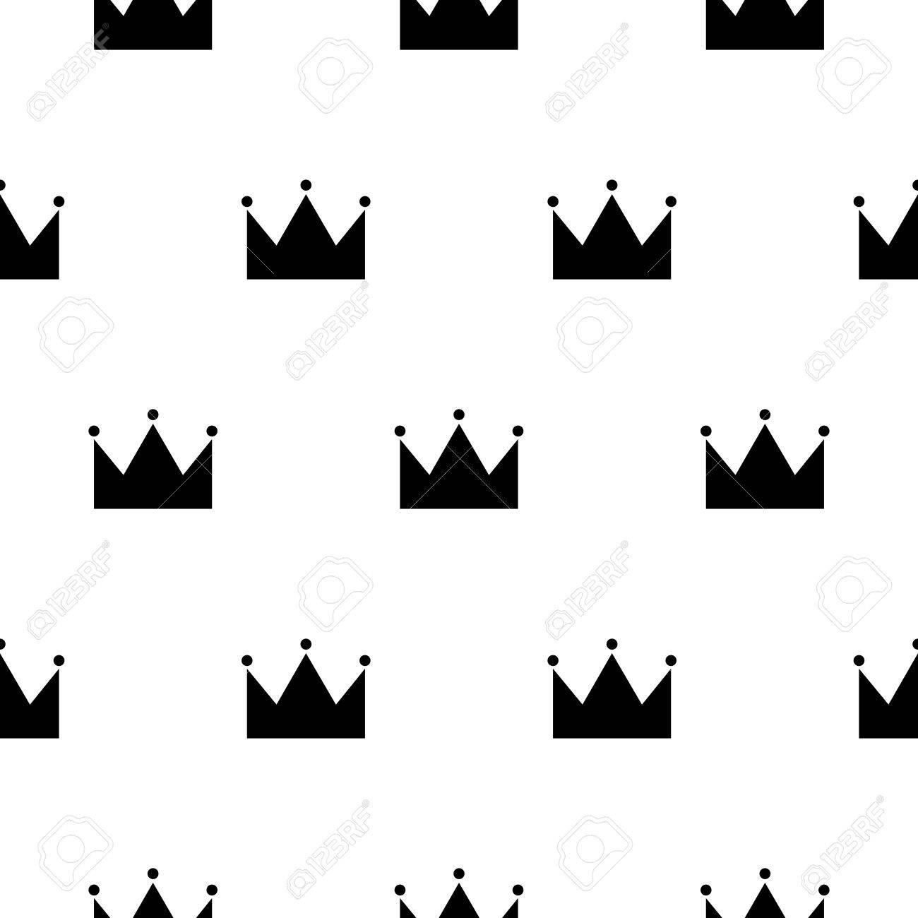 Modelo Inconsútil De La Corona De La Princesa Blanco Y Negro Corona