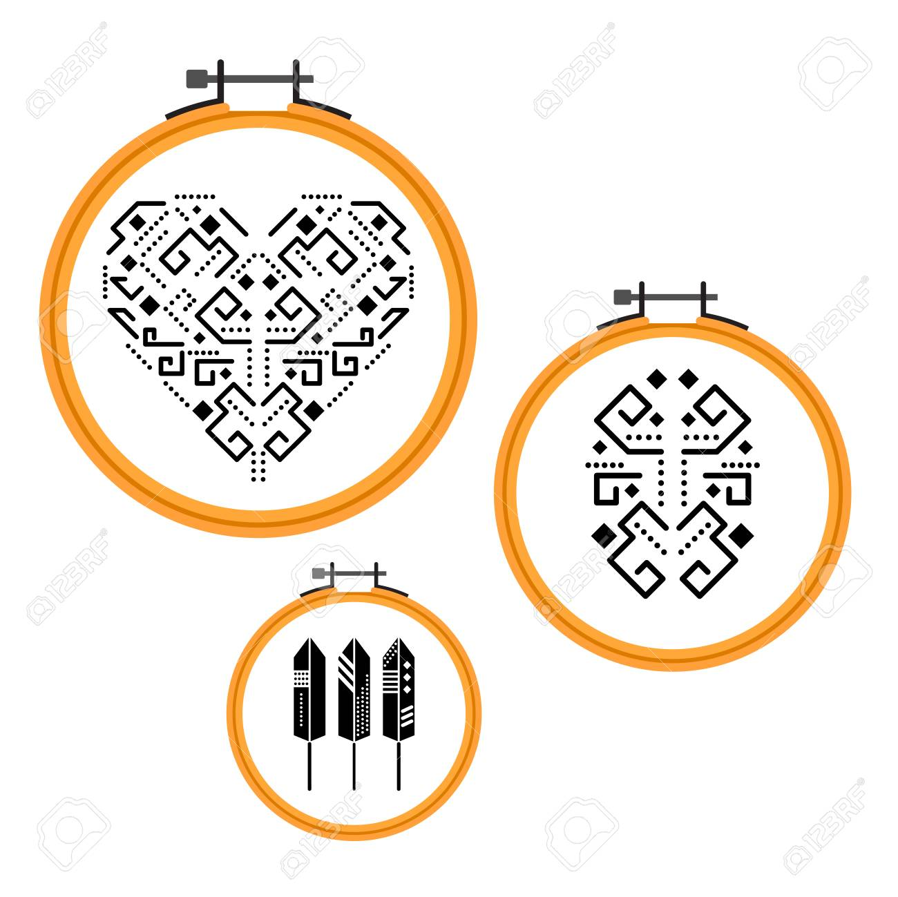 Needlework Tribal Design On Embroidery Hoops. Wooden Round Frames ...