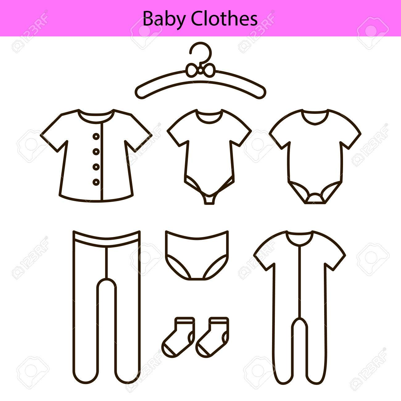 baby clothes vector line icons royalty free cliparts vectors and