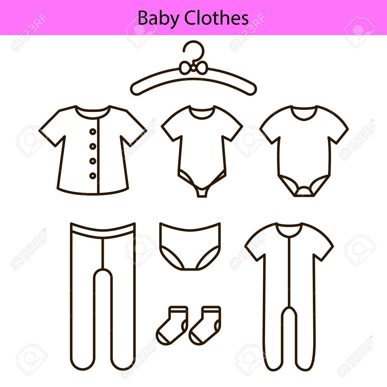 Bebé ropa vector línea iconos. Foto de archivo - 76872038 1854dda04133