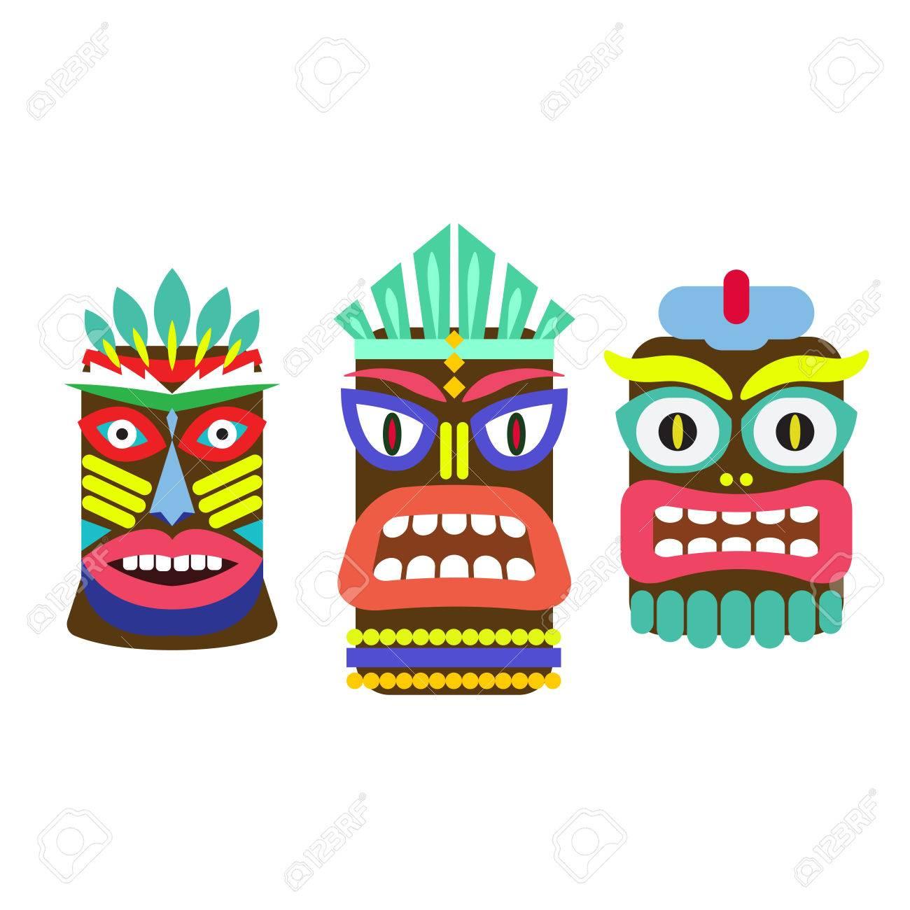 tiki mask cartoon vector set hawaiian bar decorations isolated