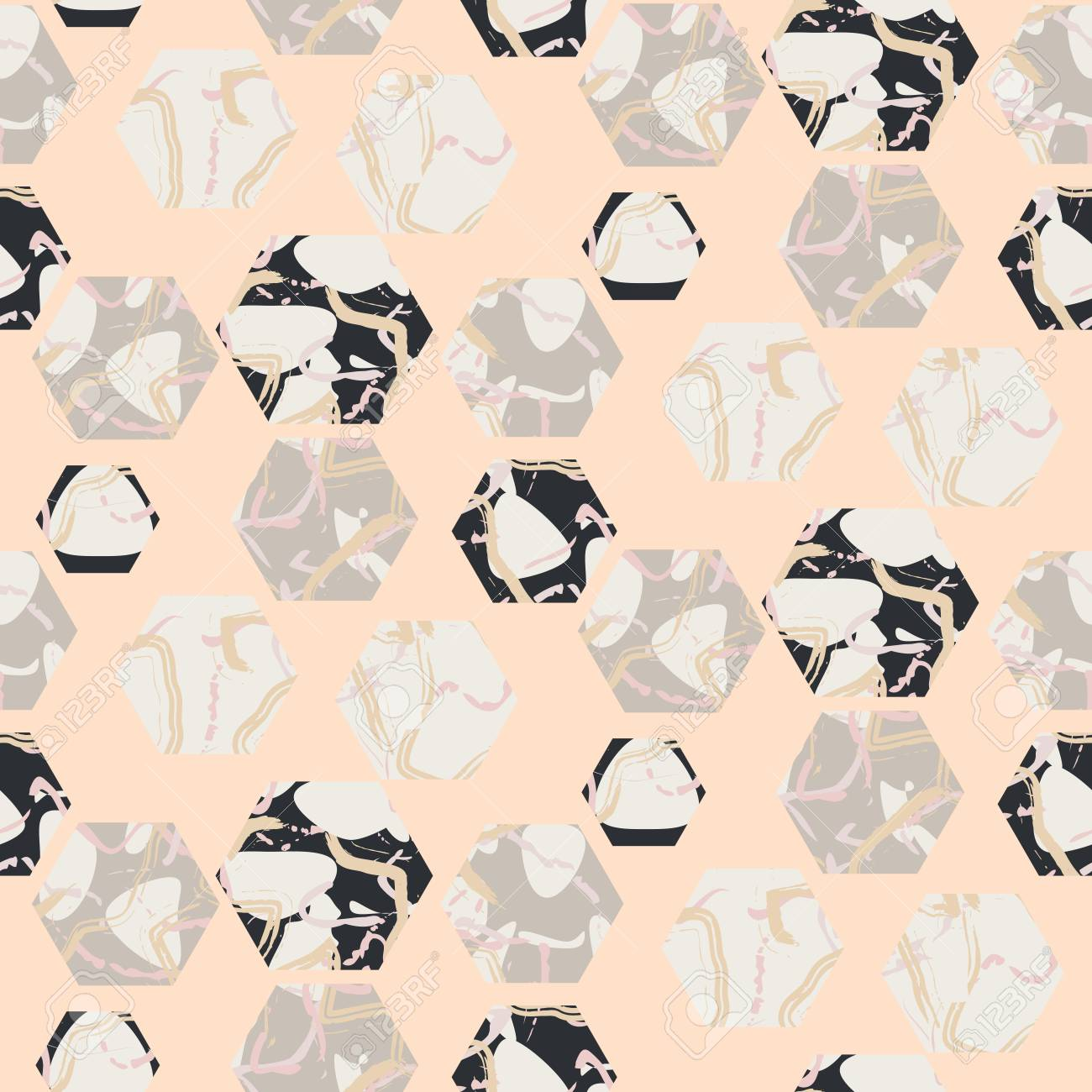 Pierre Hexagones De Marbre Sans Soudure Texture Vecteur Rose Pale