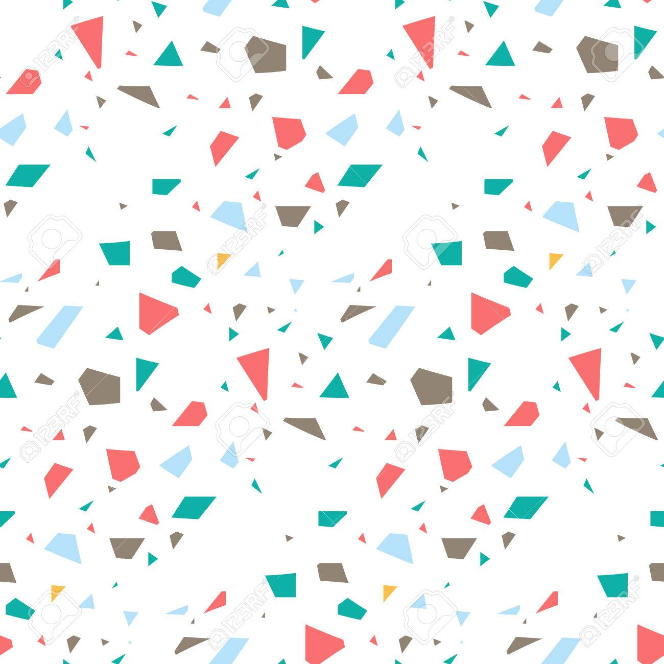 Terrazzo Flooring Seamless Vector Pattern Coral Red And Blue