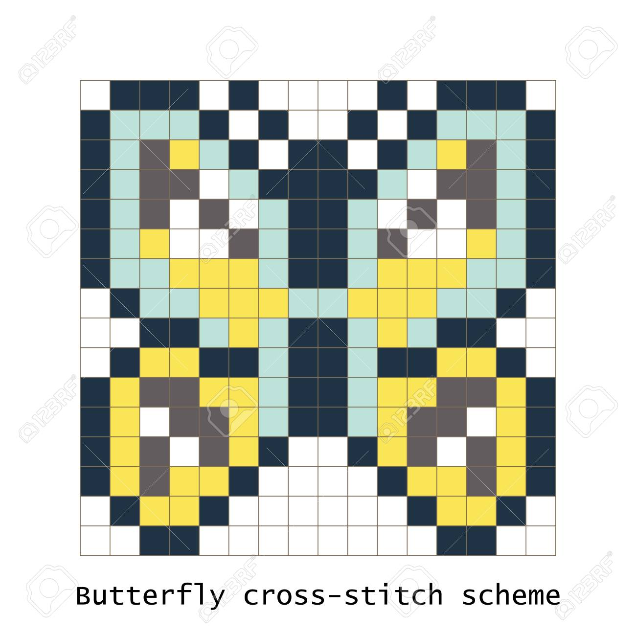 Cross Stitch Pixel Art Butterfly Vector Set