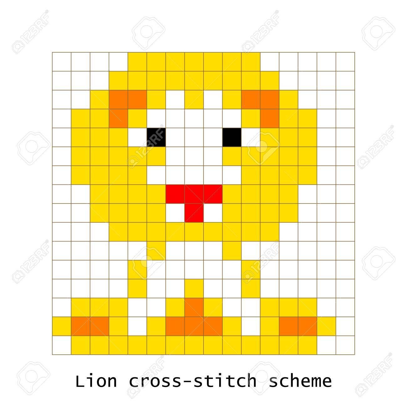 Cross Stitch Pixel Art Lion Animal Vector Set