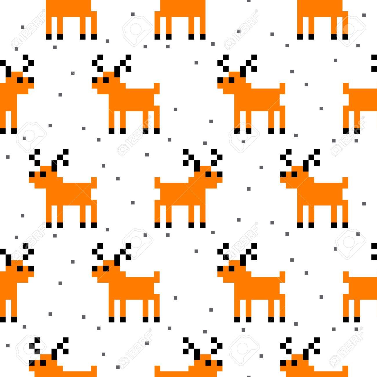 Mignon Bande Dessinée Cerfs Pixel Art Seamless Pattern Fond Drôle Animal Animal Pour La Conception Textile Et Le Papier Peint Conception De L