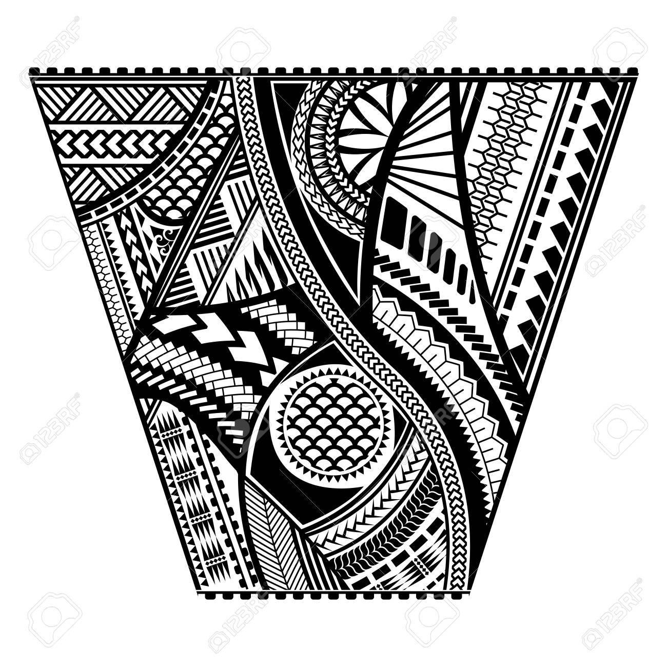 Polynesian Tattoo Style Sleeve Vector Design Trapeze Shape Mayan Body Art Black Stencil Template