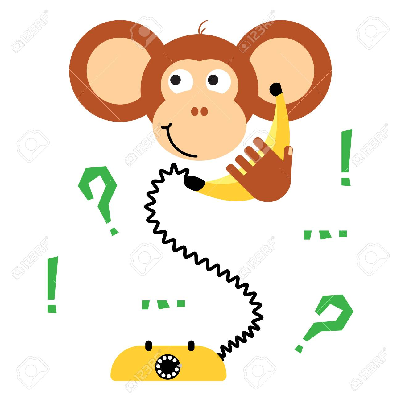 cute cartoon monkey calling banana phone vector tee print fun