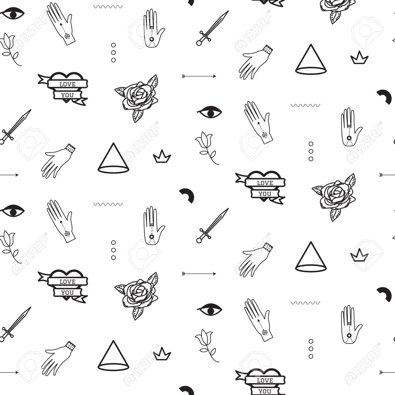 Doodle Hipster Flash Tattoo Style Seamless Vector Pattern Royalty