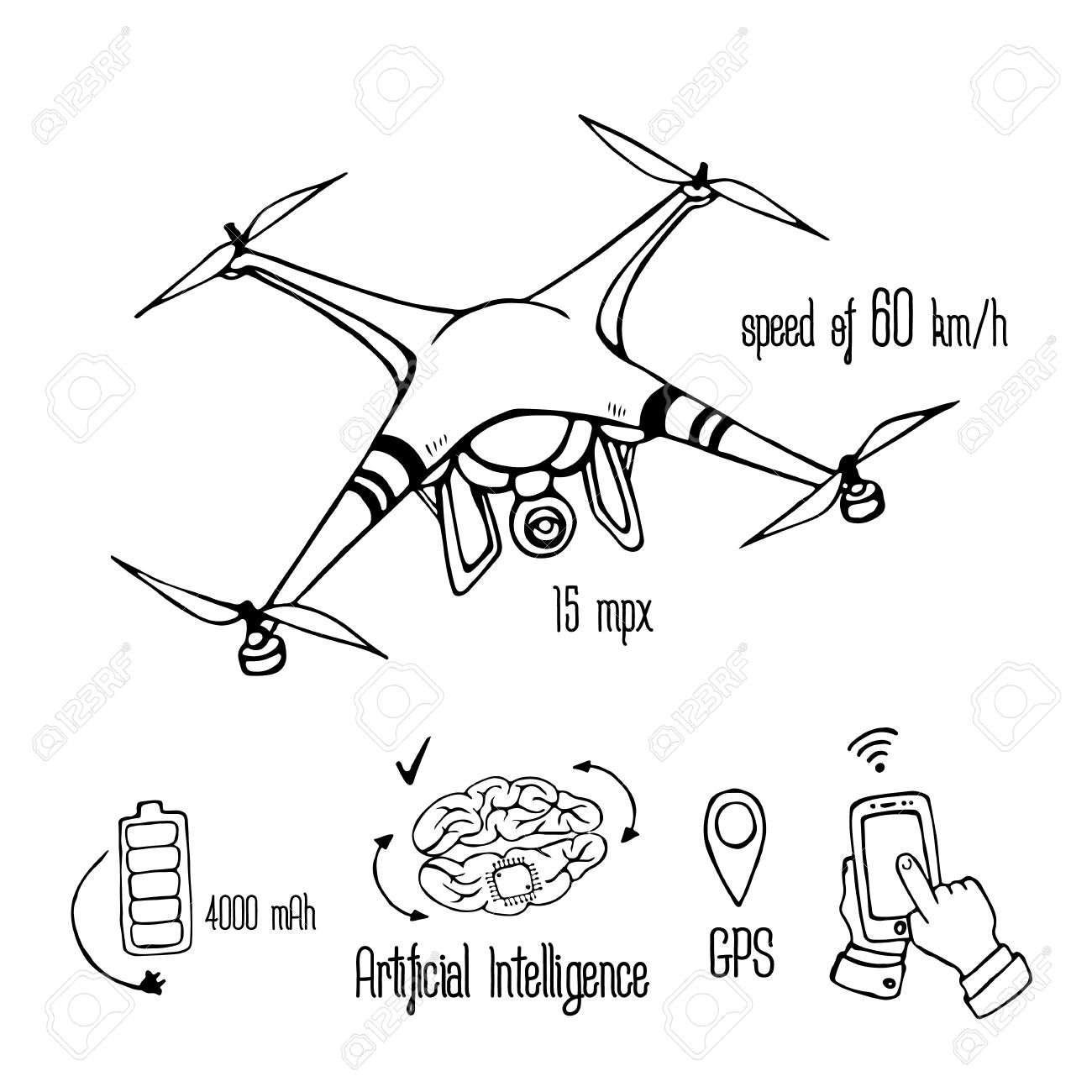 Quadrocopter Dron With Action Camera Freehand Drawing Drone