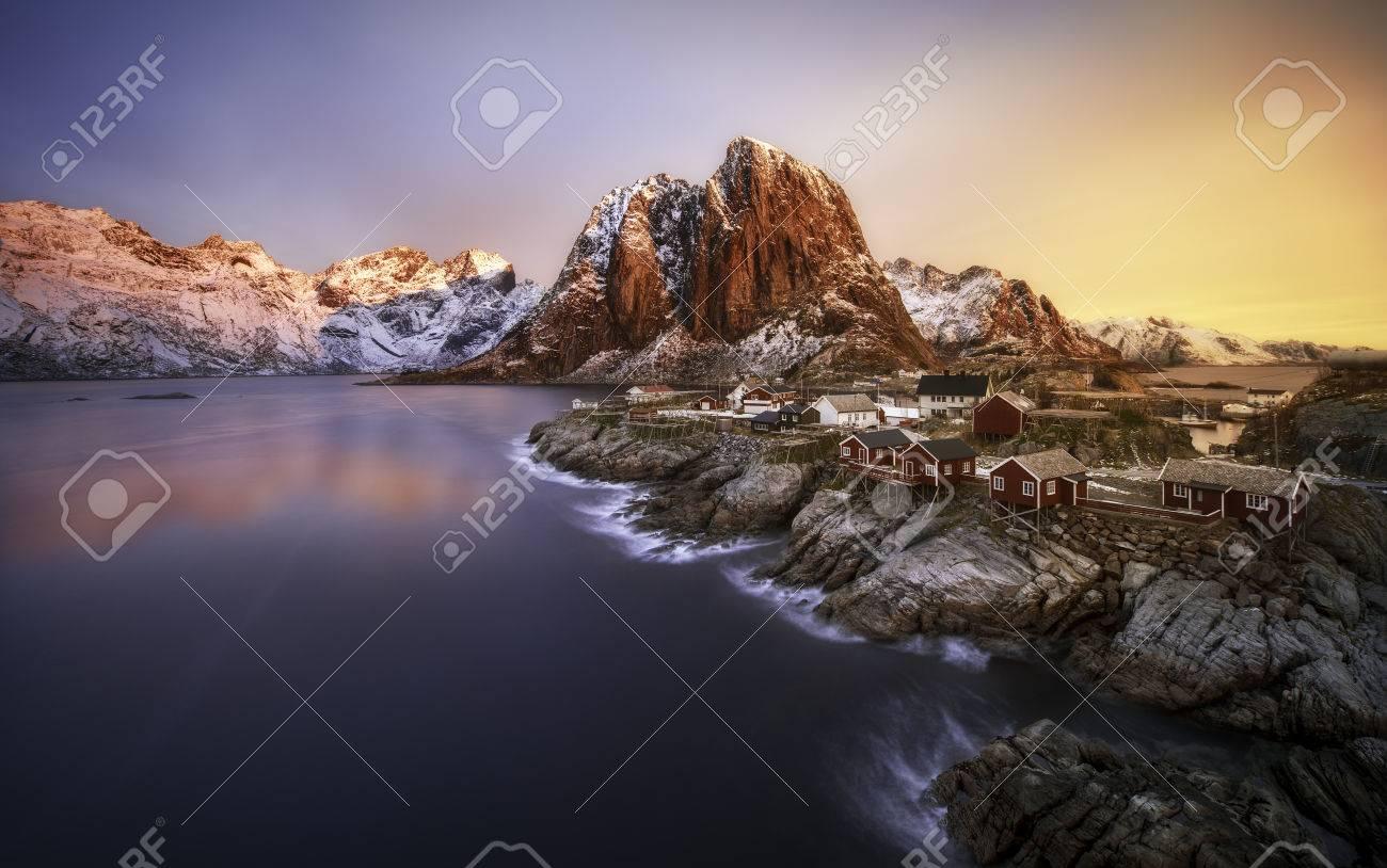 Sunrise over Hamnoy, Lofoten islands, Norway - 33948816