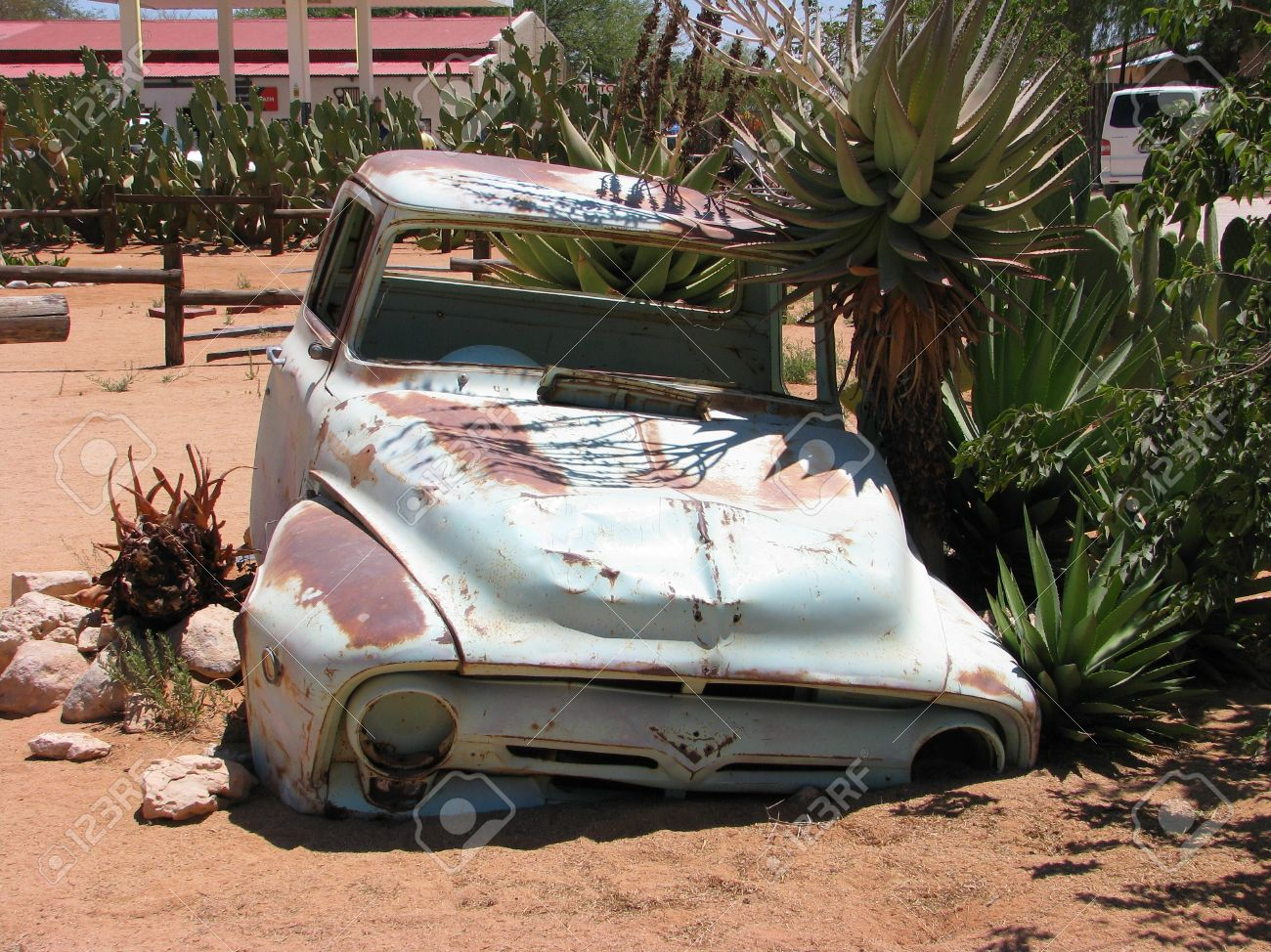 Old Car Wreck On Namibian Desert, Solitaire, Namibia Stock Photo ...