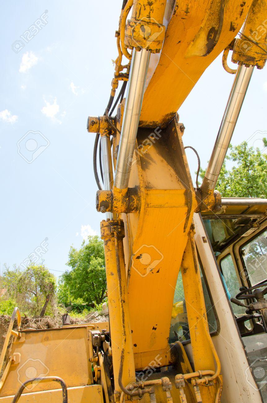 detail of hydraulic bulldozer piston excavator arm construction