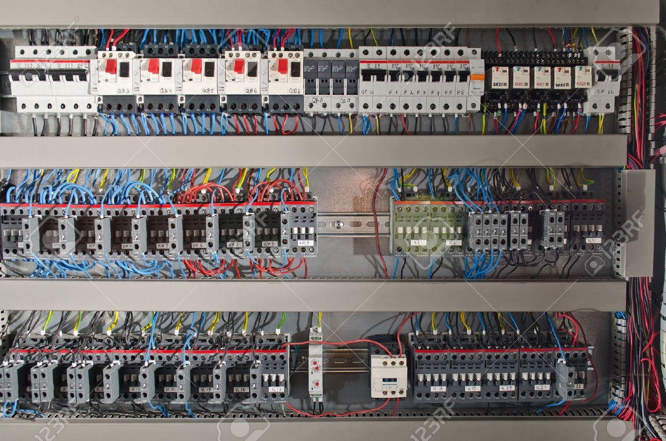 electrical panel Electrical panel at a assembly line factory. Controls and switches Stock Photo : panel electrical wiring - yogabreezes.com