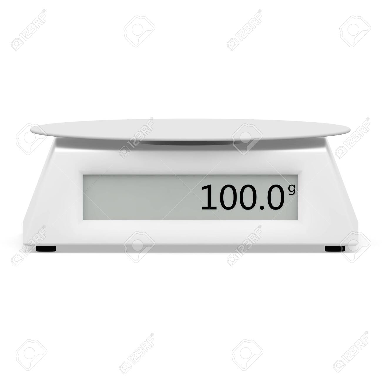 Electronic scales show 100 grams, on a white isolated background. There is a free space for your design. 3D illustration - 128534346