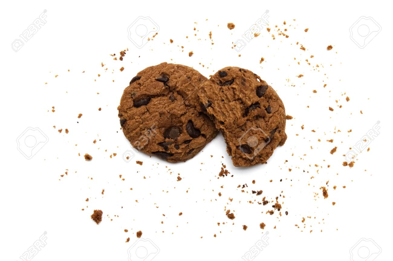 Chocolate chip cookies and crumbs on white background and Top view. - 145262787