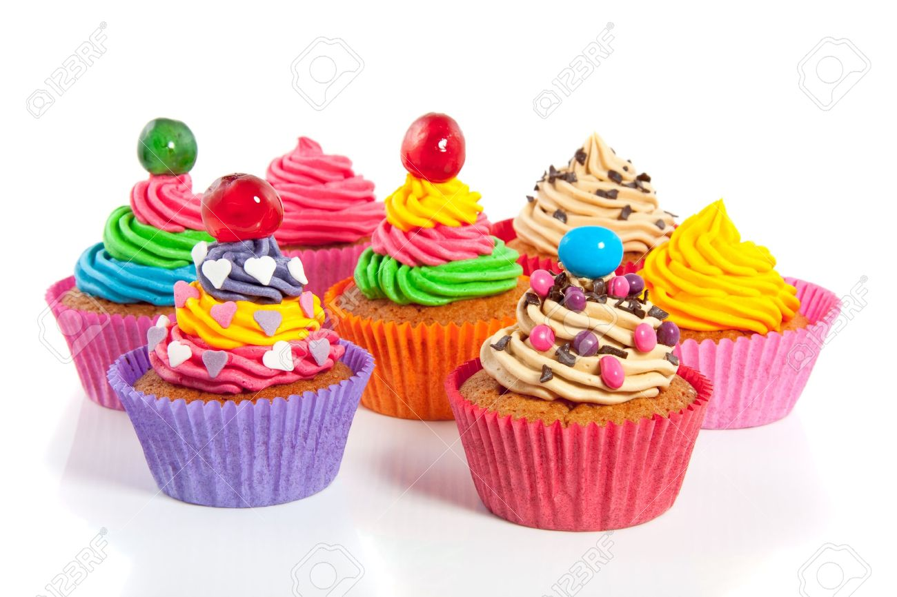 beautiful colored cupcakes isolated on white background Stock Photo - 9842013