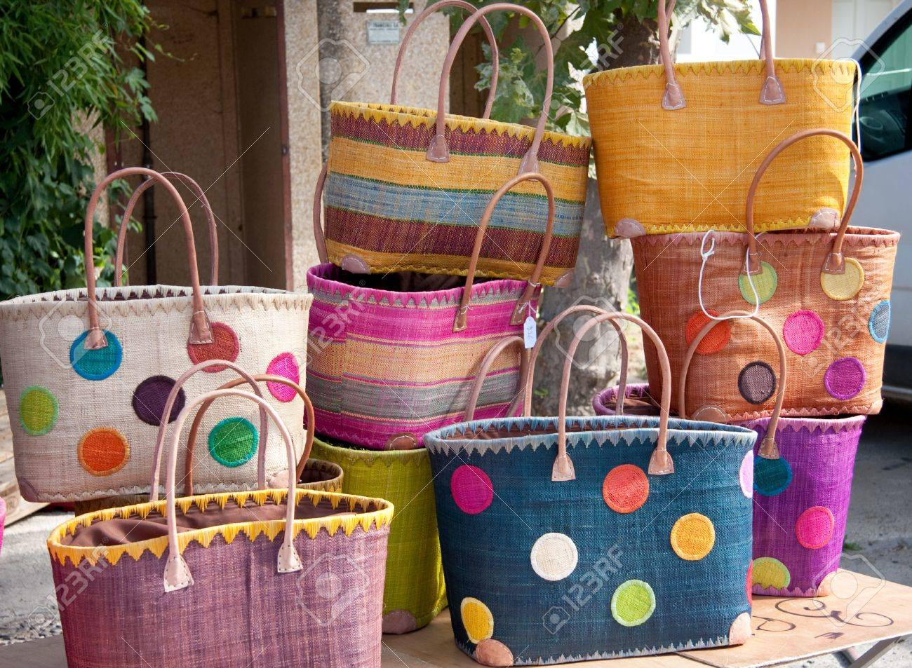 Colorful Handmade Shopping Bags For Sale On A Market Stock Photo ...
