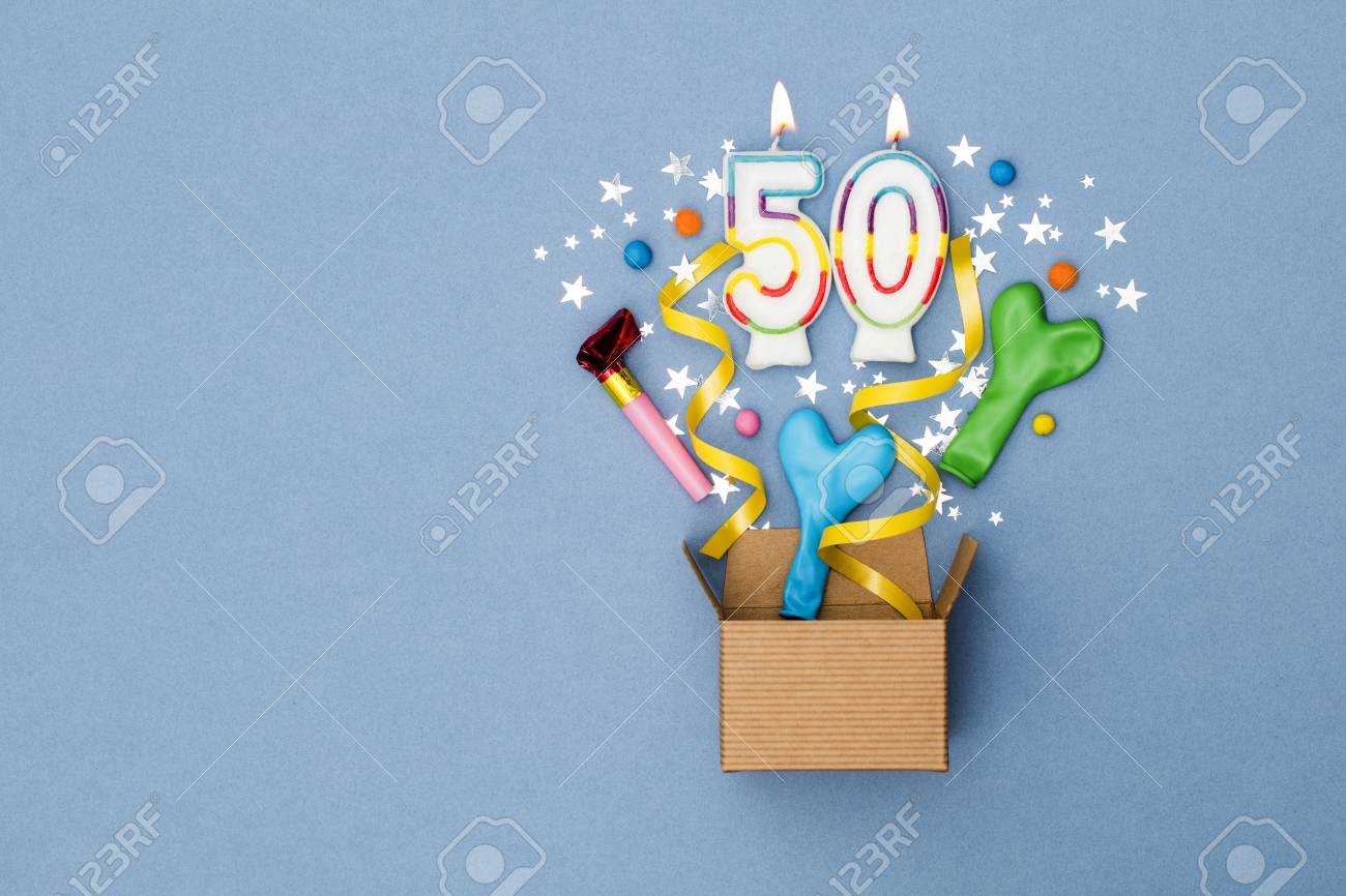 Number 50 celebration present background. Gift box exploding with party decorations - 89962740