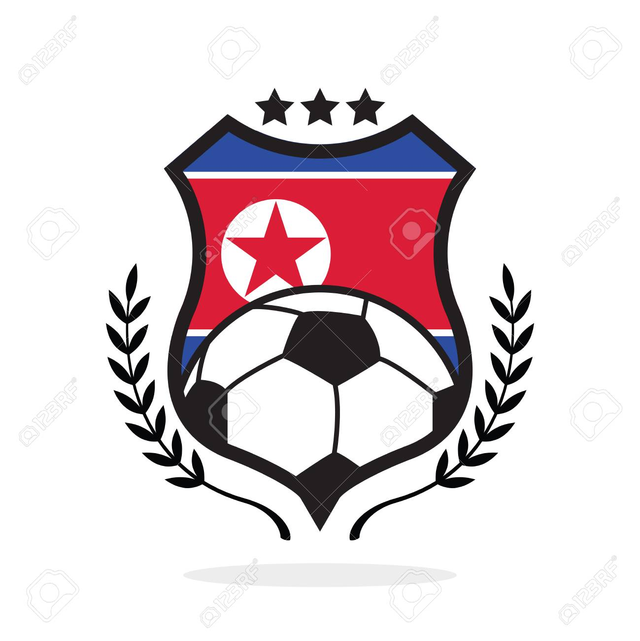 north korea national flag football crest a logo type royalty free rh 123rf com free vector christmas cards free vector christmas art