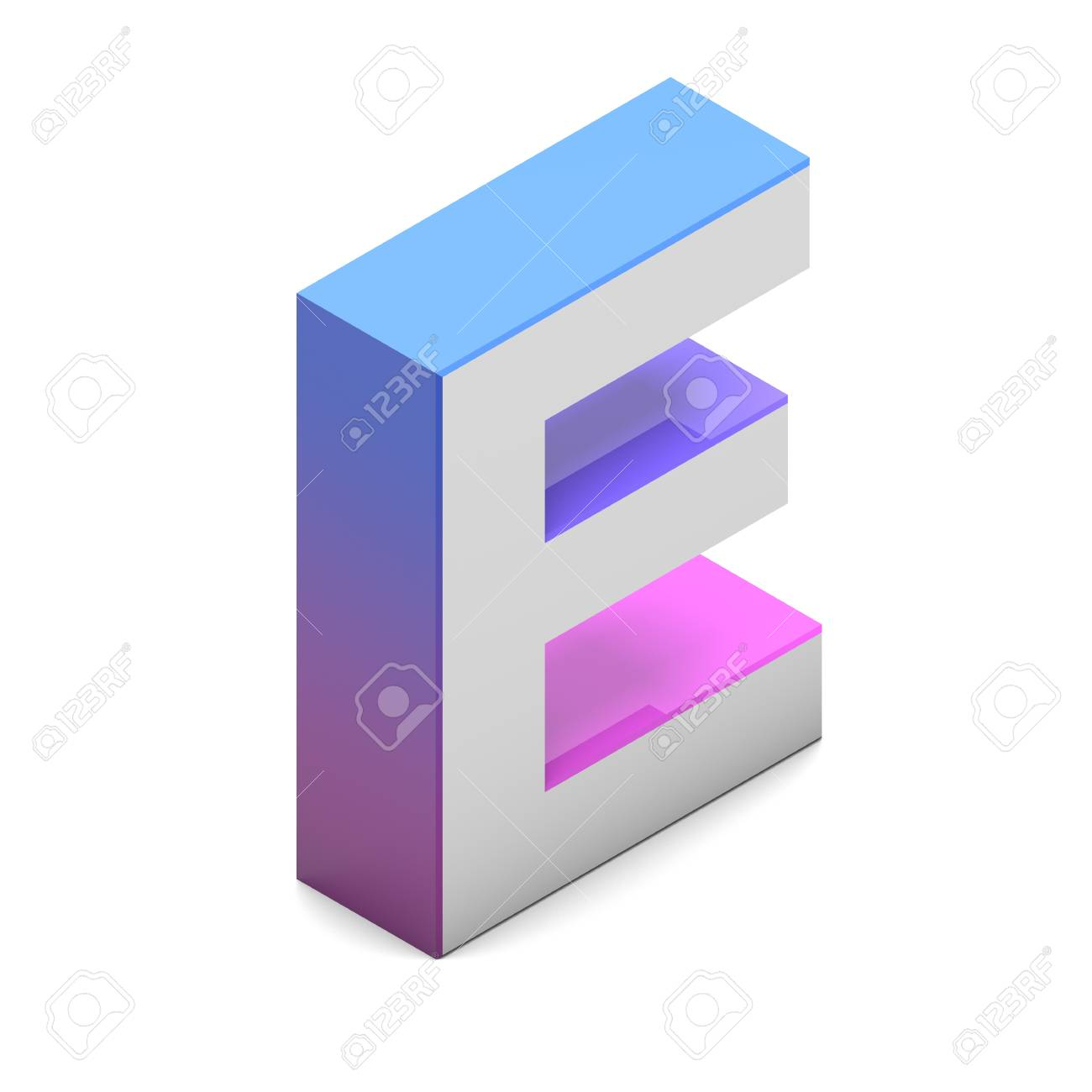 Letter E Isometric Lettering Font With Pink Blue Gradient Stock Photo