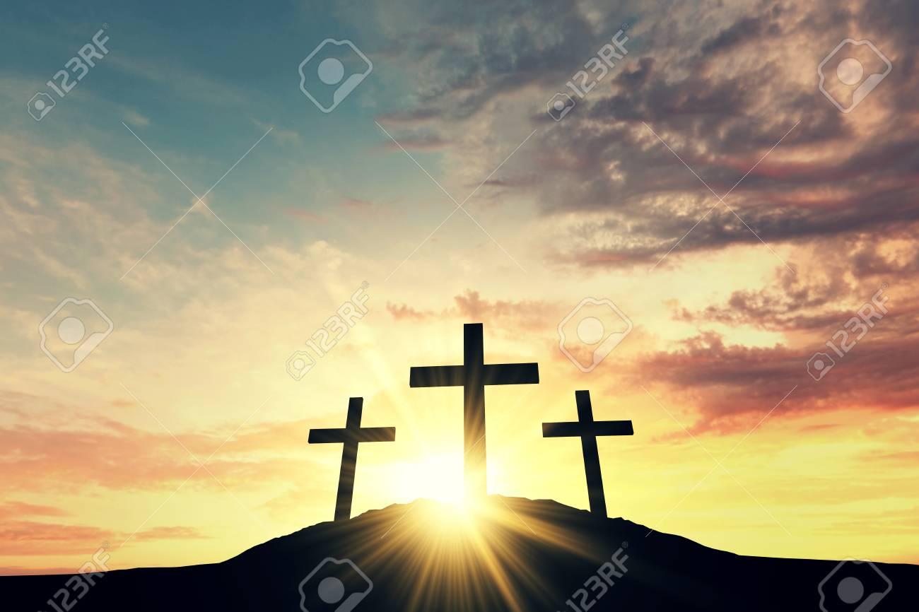 Religious cross silhouette against a bight sunrise sky. 3D Rendering - 91708108