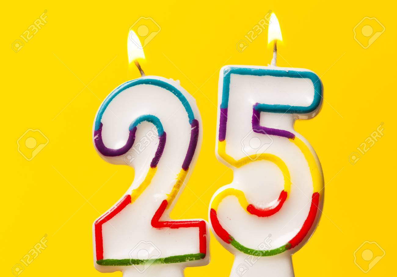Silver Number 25 Birthday Candle