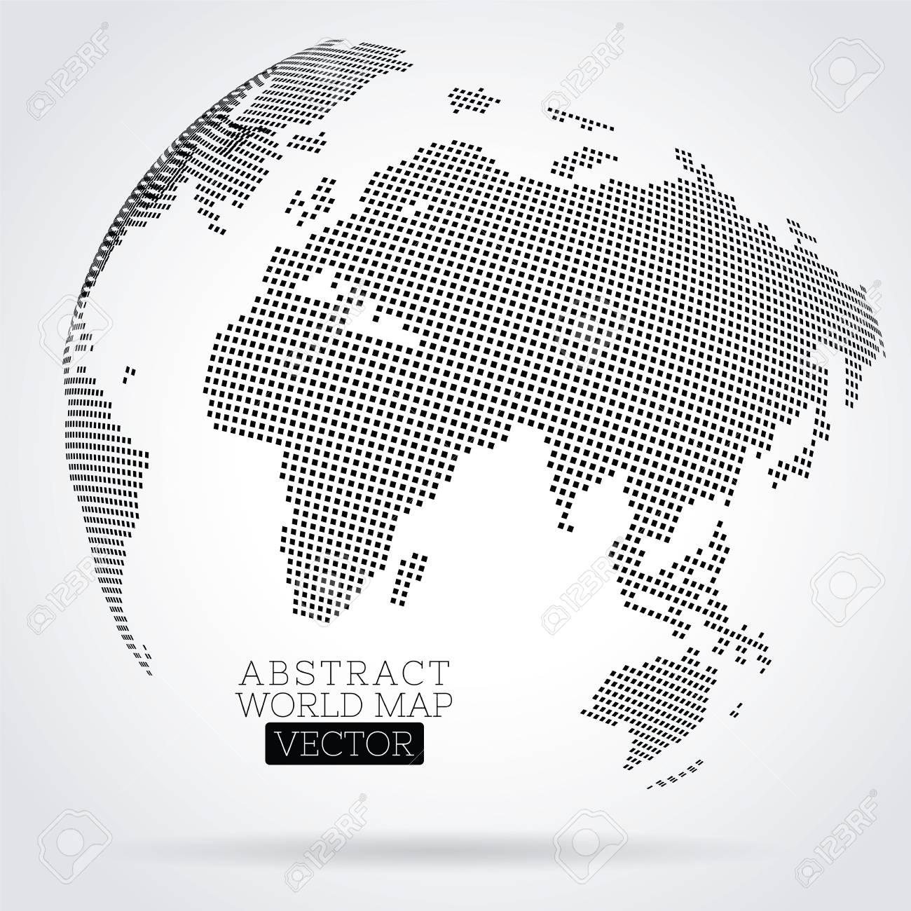 Carte Du Monde Pixel Faite De Petits Carrés