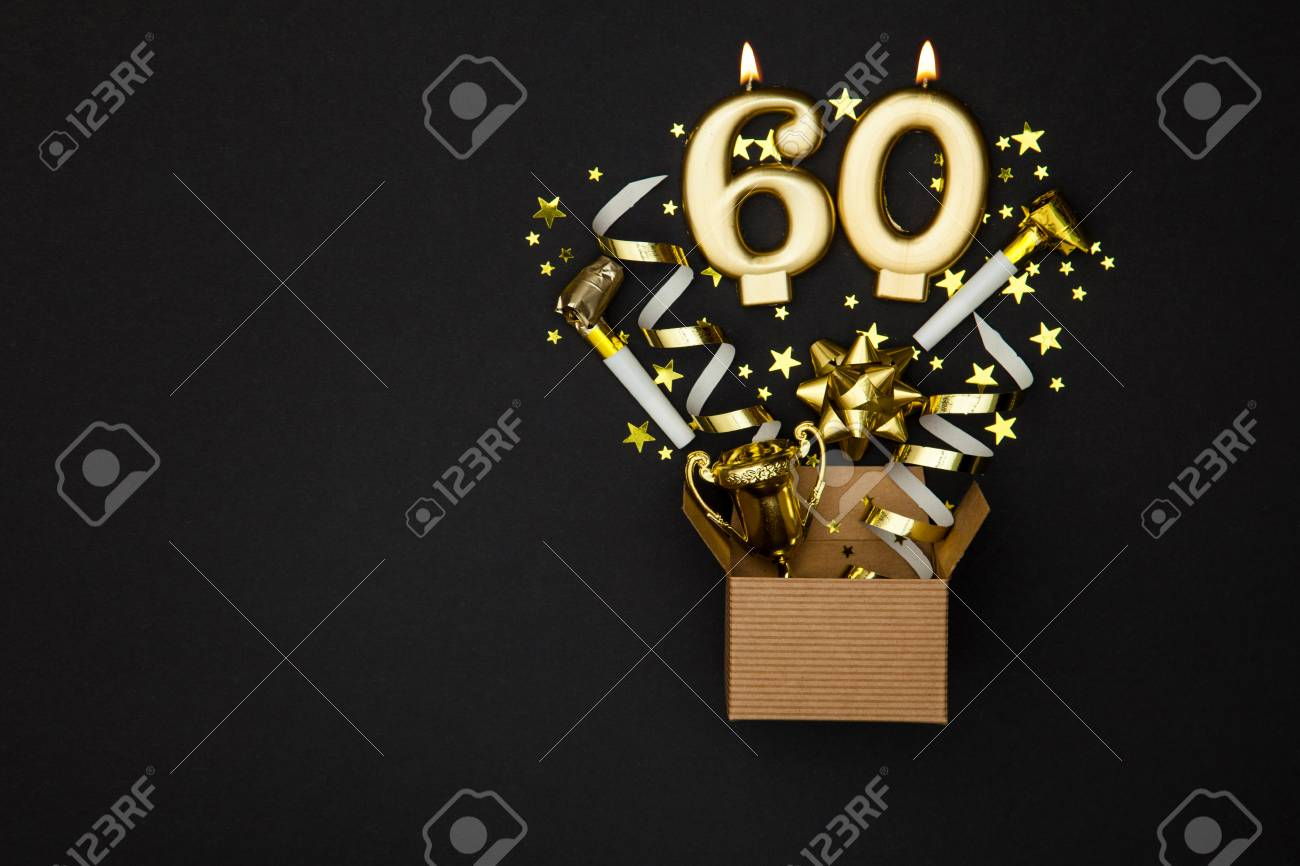 Number 60 gold celebration candle and gift box background - 91935197
