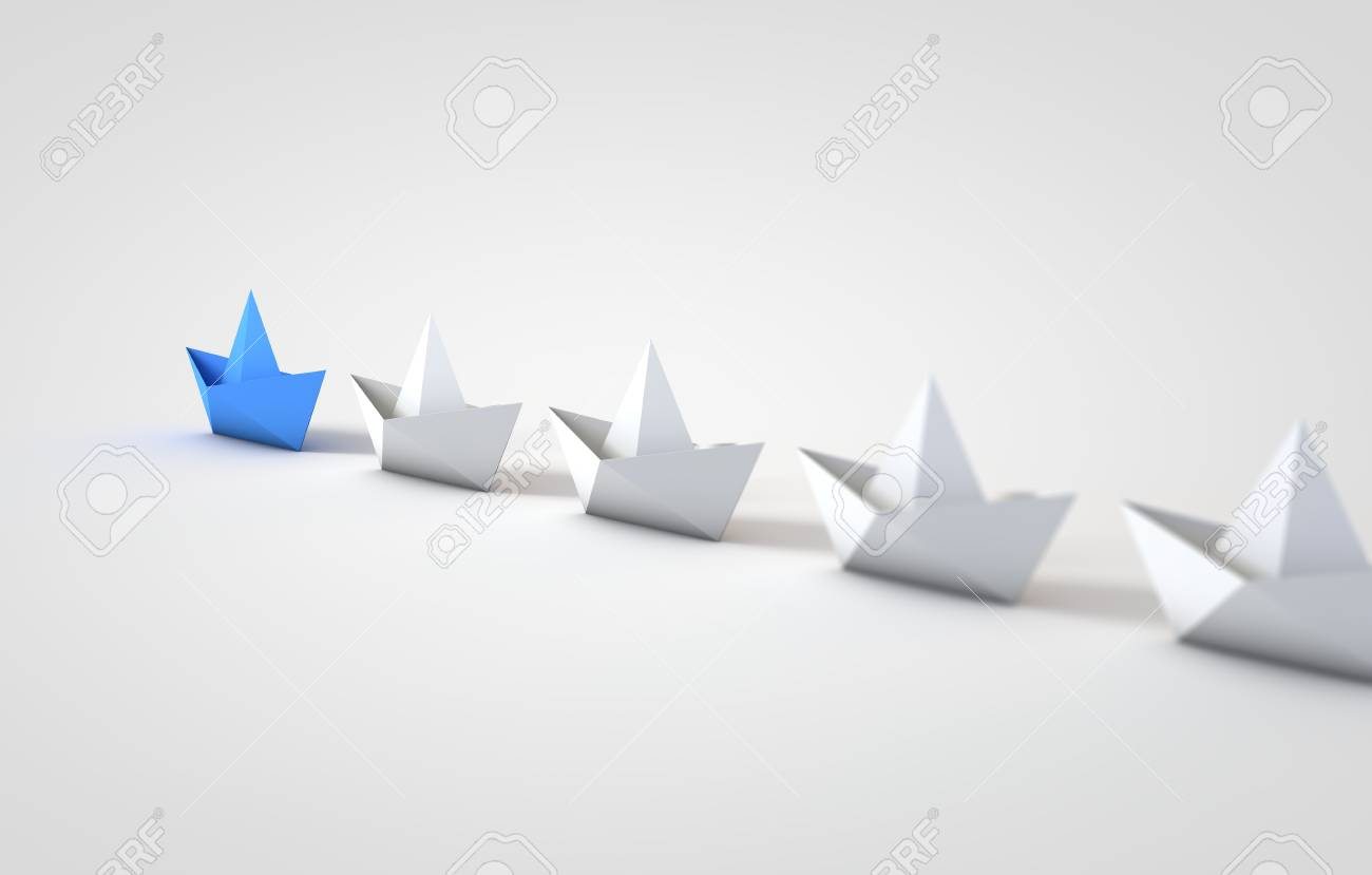 Origami Boats Leadship Concept 3d Rendering Stock Photo Picture