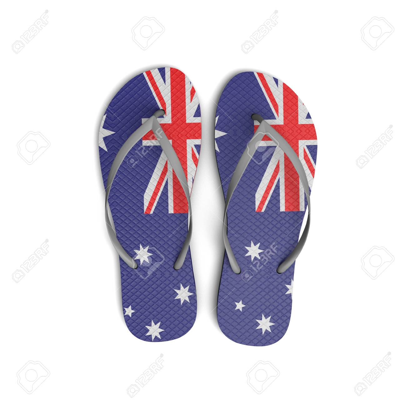 a13cfdc3d3f6 Australia flag flip flop sandals on a white background. 3D Rendering Stock  Photo - 91935391