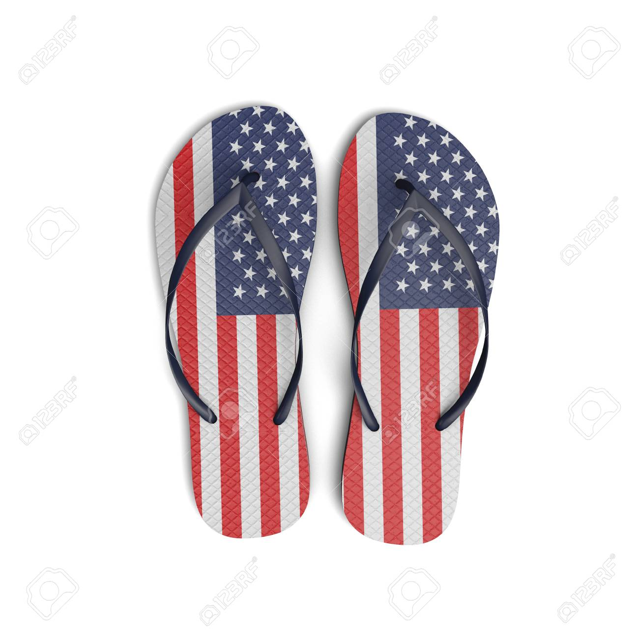 b15b504ff299 Stock Photo - USA flag flip flop sandals on a white background. 3D Rendering
