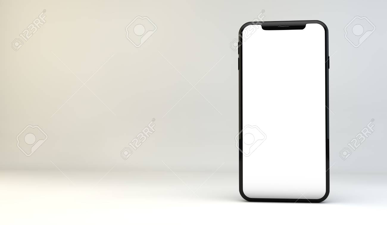 Modern smartphone with blank white edge to edge screen. 3D Rendering - 92862914