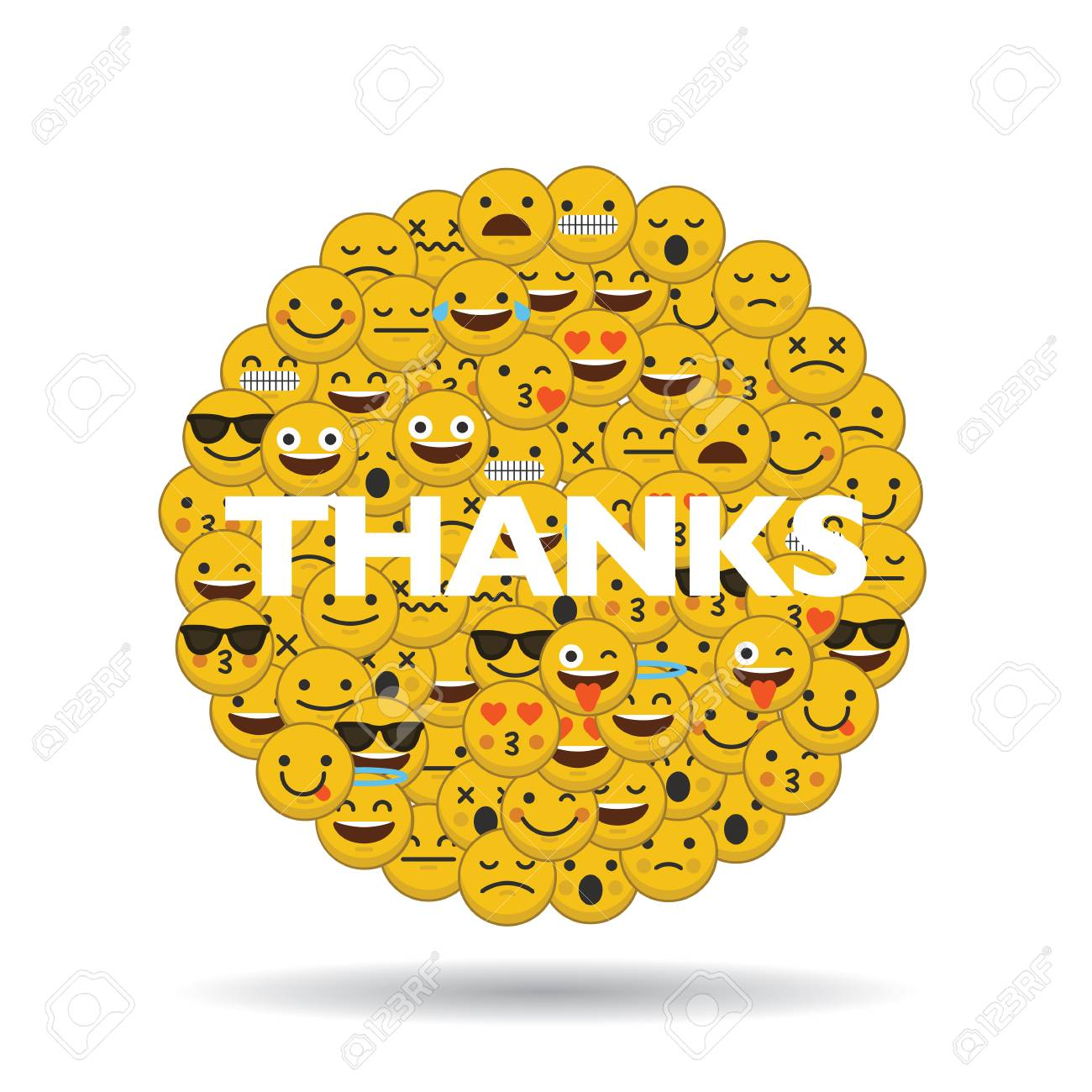 emoji emoticon character faces in a circle with message - 92687043