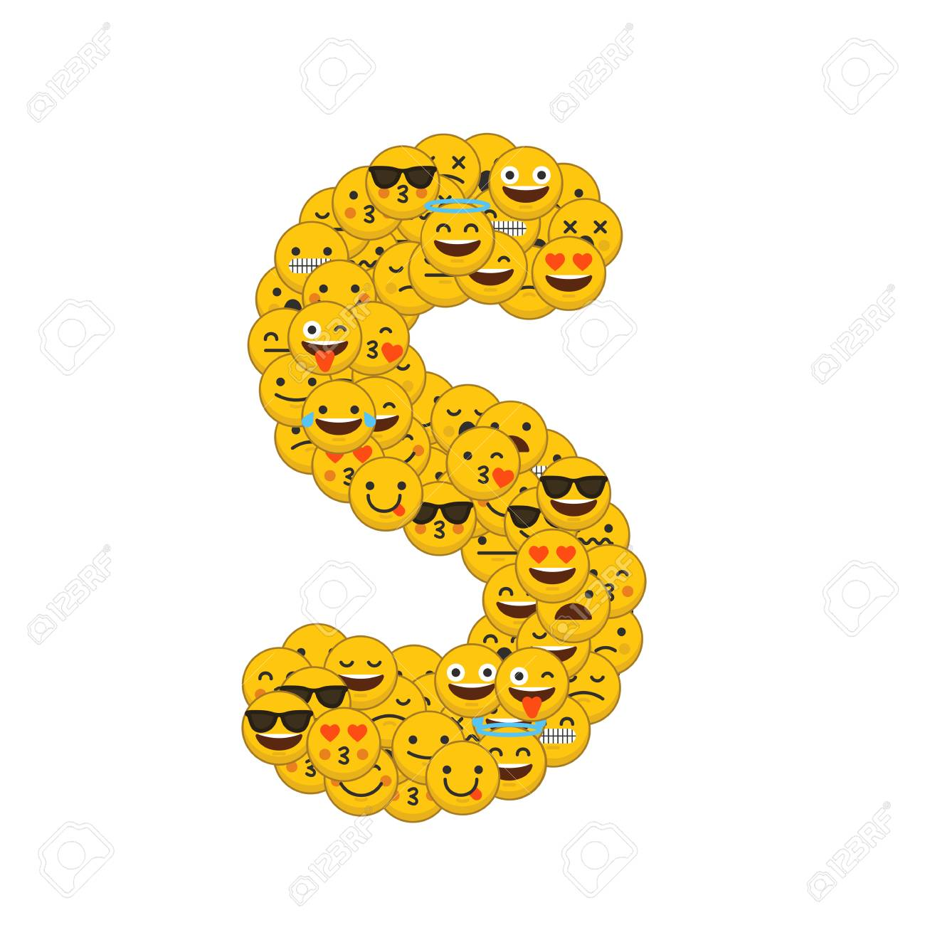 emoji smiley characters capital letter s stock photo 93223529